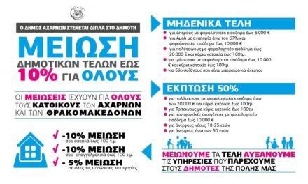 Γενναία μείωση Δημοτικών τελών στο Δήμο Αχαρνών
